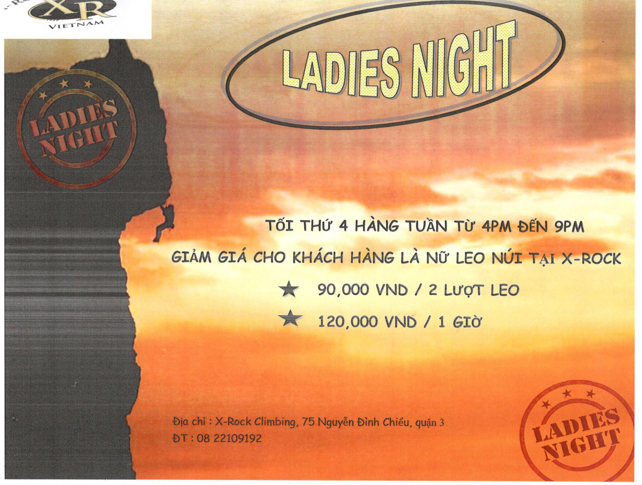 Wednesday  Ladies' night from 4pm to 9 pm ----  Discount for female customers